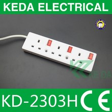UK style 3 way power extension socket / power strip with red switch