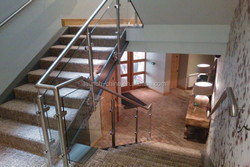 satin stainless steel 316 glass railing used T posts for stair handrail