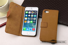 Factory Book Excellant Fold Flip Real Leather Cover Case for iPhone 5/5s
