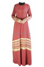 wholesale 2015 strip design kaftan ankle length ladies long sleeve fashion muslim evening dress cheap abaya 3 colors for option