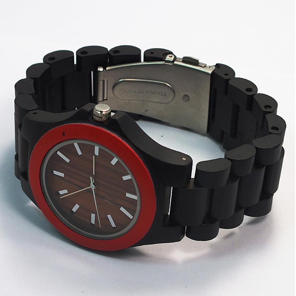 new brand black / red sandal wood watch custom dial man wooden watch