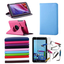 2014 New Ultra-slim 360 degree Rotating PU Leather Case Cover For Asus FonePad 7 FE170cg 7inch Tablet + Film + Stylus