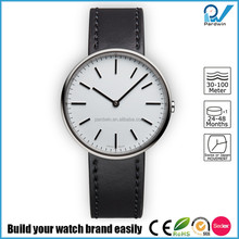 Polished stainless steel case genuine leather strap japan movement rubber japan quartz wrist watch