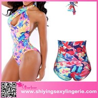 Floral Print Crossed Halterneck very young models girl bikini One piece women swimwear bikini
