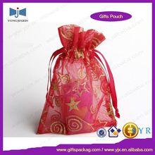logo printed small organza bag Hallowmas candy packing