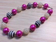 2015 colorful Chunky Bubblegum Jewelry Cordial Design black and white stripe Handmade Necklace For girls