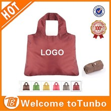 cheap eco 190T polyeter foldable shopping bag with double layer handle