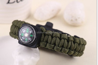 handmade cobra braided military whistle buckle compass survival paracord bracelet