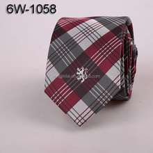 Polyester woven neck ties micro fiber necktie black red and grey plaid mens designer ties 6W1058