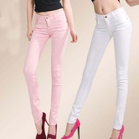 W18042 Korean woman candy-colored jeans various colored sexy pencil pants jeans