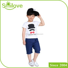Bulk wholesale fit short sleeve t shirt with printing cotton hat pattern kid t shirt for export clothes