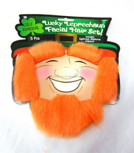 Orange St. Patrick's Day beard+eyebrow+Side burns