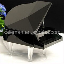 Beautiful crystal music box / Crystal glass grand piano for wedding gifts