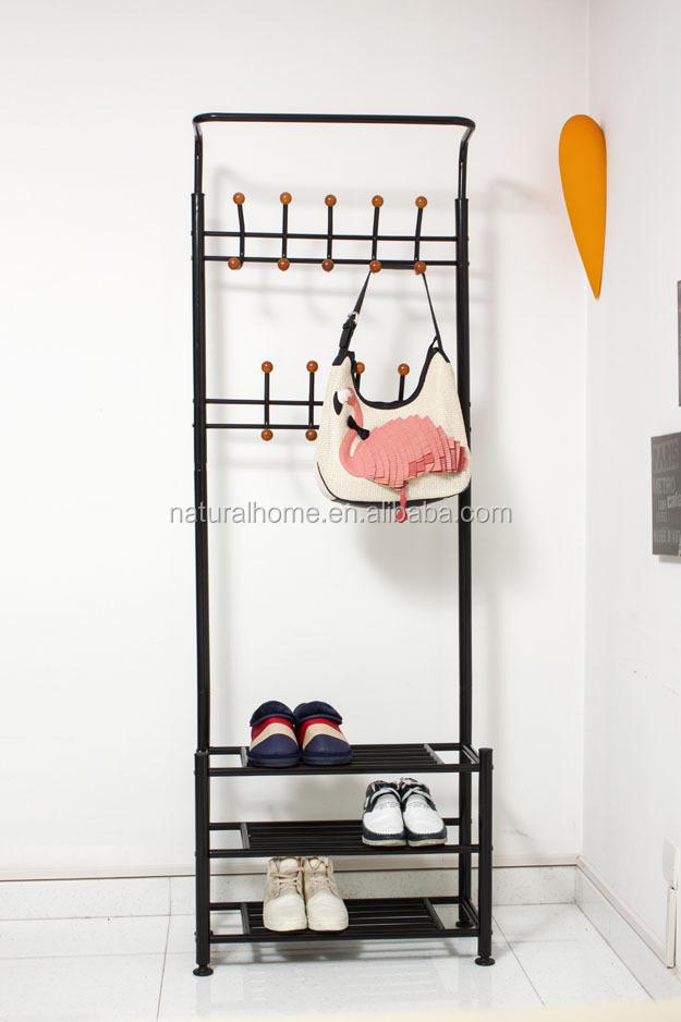 Home Furniture Metal Hat Stands Coat Hanger Stand With Shoe Rack Fascinating Coat Hook Shoe Rack
