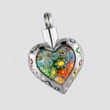Murano Flower Urn Jewelry Heart Cremation Pendant Keepsake
