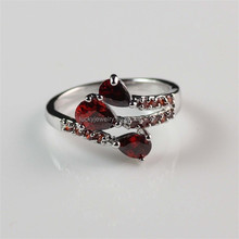 Fashion Jewelry of Woman's Beautiful Silver Plated Red Zircon Ring
