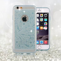 for iphone 6 housing back casing TPU gel cover protector shell cases with glitter plum blossom