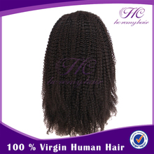 New Products 2015 Natural Hairline Unprocessed Malaysian Kinky Curl Lace Wig With Baby Hair