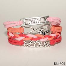 Fashion bracelet handmade braided leather faith love hope bracelet