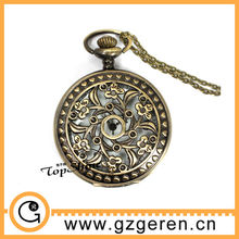 D00999o flower skeleton case open face pocket watch vintage style watch