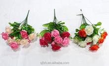 2015 hot sell 10 heads pearl rose flower bouquet,silk bush flower,cheap artificial flower