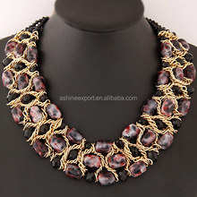 Fashion Wood Leopard Grain Beads Metal Chain Choker Chunky Collar Necklace