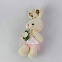 New design plush toy cute mini rabbit plush keychian toy with flowers