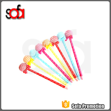 2015 hotsale and cheap cute shape lollipop plastic ball pen with logo