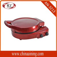 Red Round Conveyor Pizza Oven New for Home Use With Up Heating Plate Control Switch Bottom