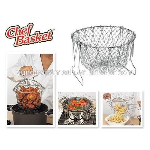 Venta caliente de acero inoxidable cesta de malla de alambre para freír la compra, herramienta de la cocina, alta calidad
