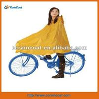 Hooded polyester pvc bicycle raincoat