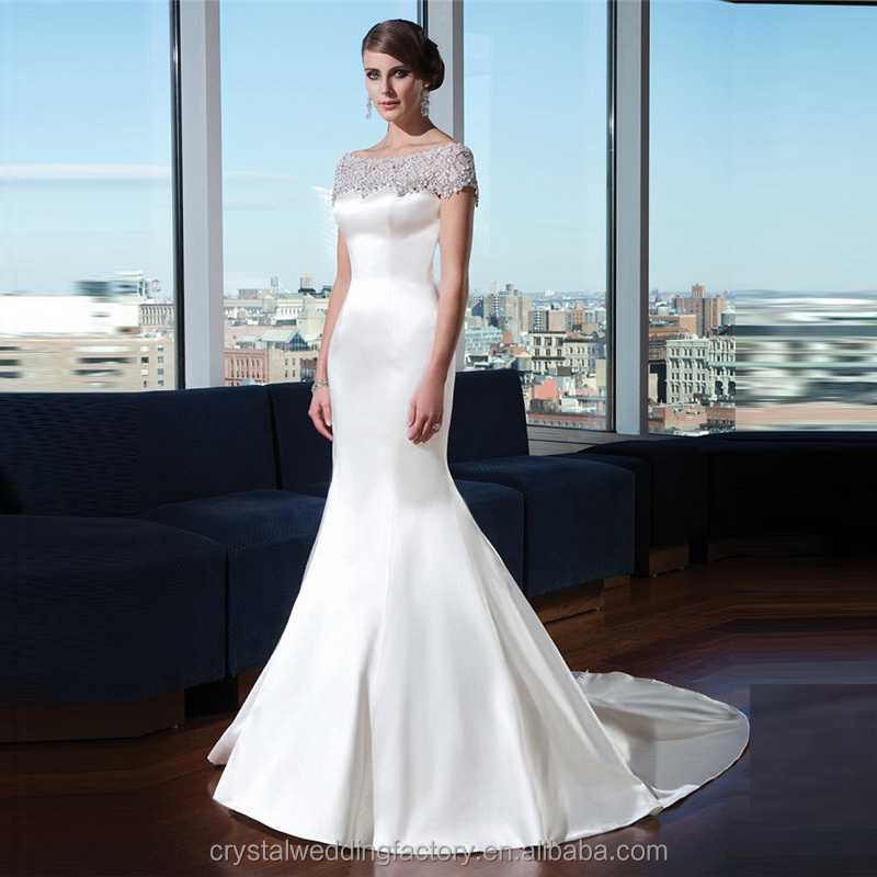alibaba o neck elegant white satin mermaid wedding gowns