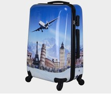 2015 hot sale PC colorful printed hard shell plastic luggage for wholesale