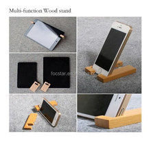 2015 Mini Size Multi Function Universal Natural Wood Stand for Tablet PC and Mobile Phone