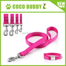 Pink cute nylon webbing dog leads collars set customized dog leash OEM pattern / label / number / size / color