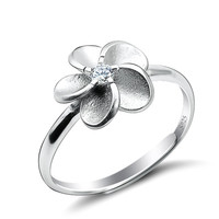 Fashion Chic Adjustable Sterling Silver Flower Rings