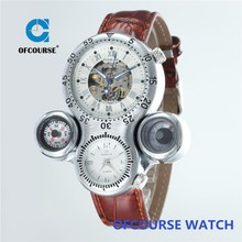 2015 ofcourse branded great unique design skeleton automatic wrist watch with dual time zone funciton