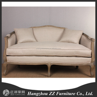 French Style Solid Wood Loveseat Bench Chair