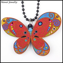 Newei 2015 Fashion Jewelry Plastic Insect Pendant Long Chain Acrylic Colorful Butterfly Necklace