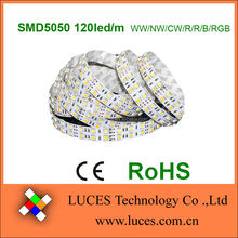 High density led strip smd5050 120led/m 2lines 600led/5m/roll waterproof R/G/B/RGB/W/WW/NW