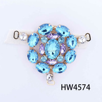 HW4574 renqing shoe collection diamante white wedding flip flops blue crystal T chains