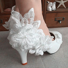 flower Lace white ivory pearls Wedding shoes Bridal flats low high heel pump