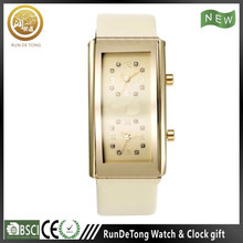 Golden rectangular case diamond dial pu strap wrist watch music player