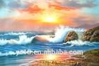 belo nascer do sol da paisagem pintura a óleo