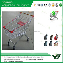 Hot sell good cheap red 125 liter zinc with clear powder european style mall shopping cart (YB-B27)