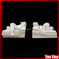 Naughty Sleepy White Natural Stone Children Garden Statue