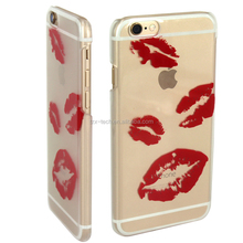 IMD technique red lip transparent case cute cat cover case for Apple iphone 6 hard PC case phone mobile accessory without logo