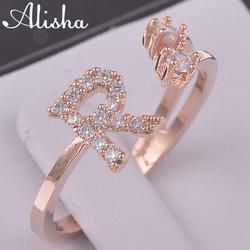 Letter shape design gold plated copper ring,fancy ring for girls