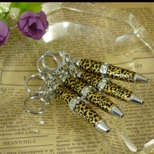 Length 62mm Pocket size Ballpoint Pen Popular and novelty design key ring Ornaments Crystal Fashion Mini Pen