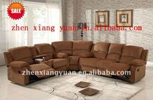 2015 Living room sofas modern furniture L shape reclining fabric corner sofa with recliner